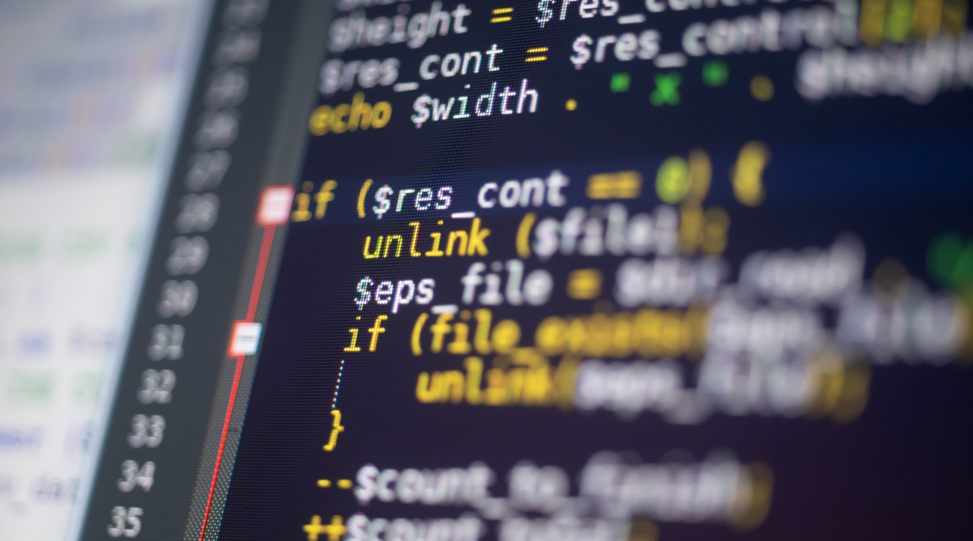 closeup of php code on a monitor