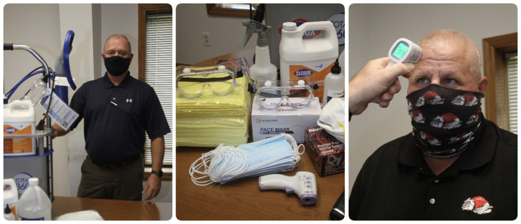 A collage of three photos, from left, Barry Lane posing with cleaning supplies, photo two, cleaning supplies and masks, photo three: David Wacaster getting his temperature taken