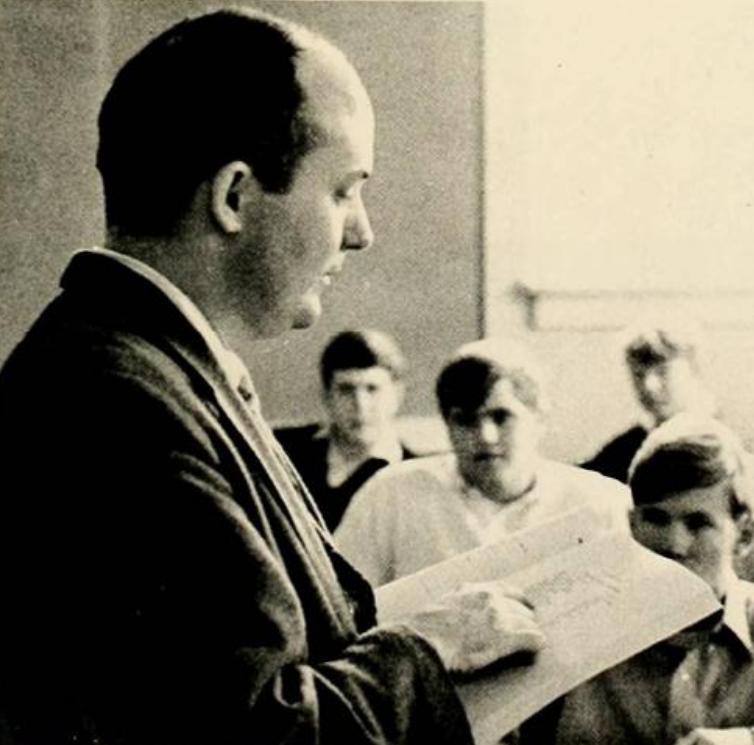 A Dr. Robert Morgan teaching a class in the late 60s.