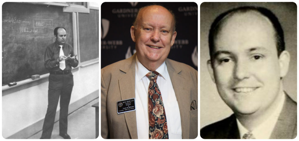 A college featuring then and now photos of Dr. Robert Morgan