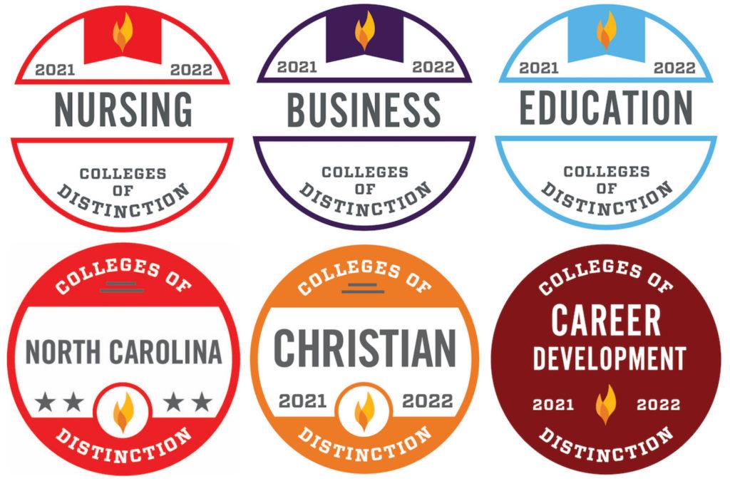 the six badges Gardner-Webb received for nursing, buseinss, education, north carolina, christian, career development