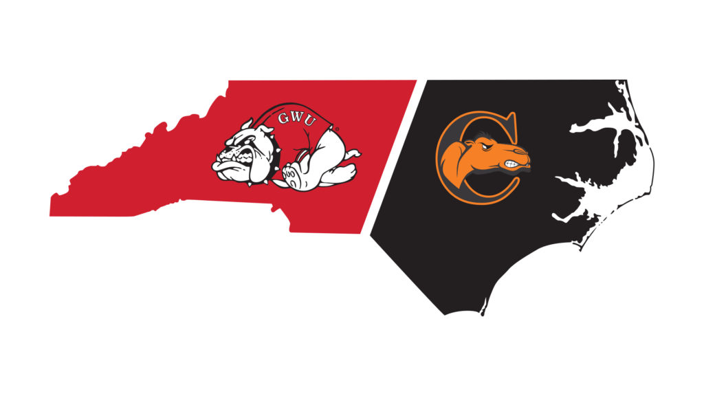 outline of NC broken into GWU and Campbell colors