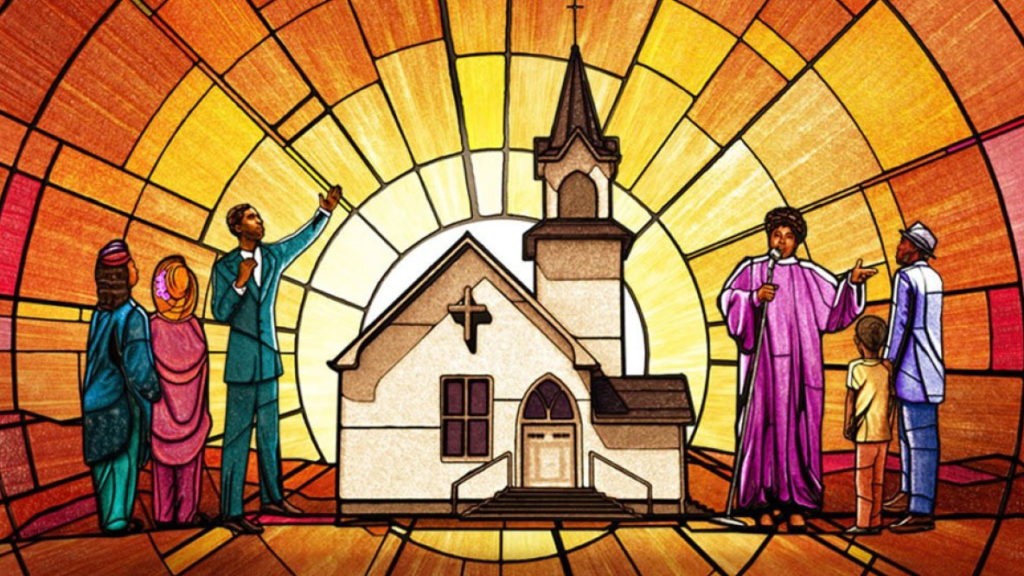 stain glass depicting black people outside of church
